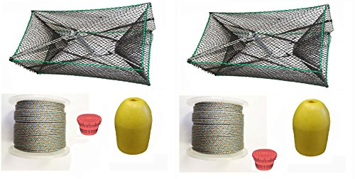 2-Pack of KUFA Sports Galvanized Steel Foldable Prawn trap with 400' rope, Yellow float and Vented Bait Jar combo (S34+PAQ1)x2 by KUFA