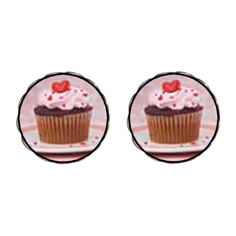 GiftJewelryShop Bronze Retro Style Heart Topped Cupcake Photo Flower Stud Earrings 14mm Diameter