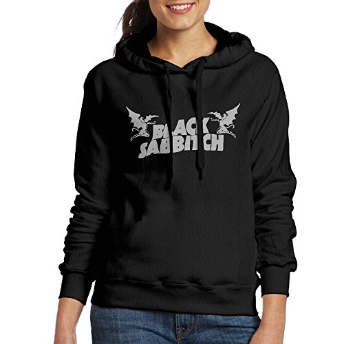 Bekey Women's Black Sabbath Letters Hoodie Jacket S Black