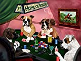 Home of Boxers 4 Dogs Playing Poker Art Portrait Print Woven Throw Sherpa Plush Fleece Blanket (60x80 Woven)