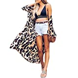 Women Long Sleeve Leopard Print Cardigan Open Front Long Blazer Casual Outwear Coat Jacket (S, Cover Ups)