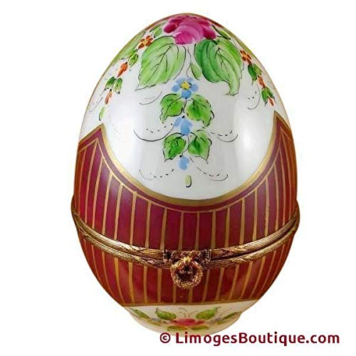 French Limoges Boxes Boutique LARGE BURGUNDY EGG W/FLOWERS - LIMOGES PORCELAIN FIGURINE BOXES AUTHENTIC IMPORTS