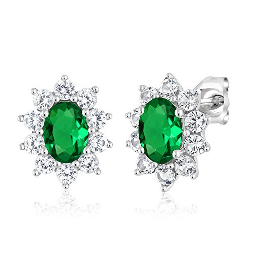 Gold Simulated Stone Earrings (10K White Gold 1.60 Ct Green Simulated Emerald Women's Oval Halo Stud Earrings)
