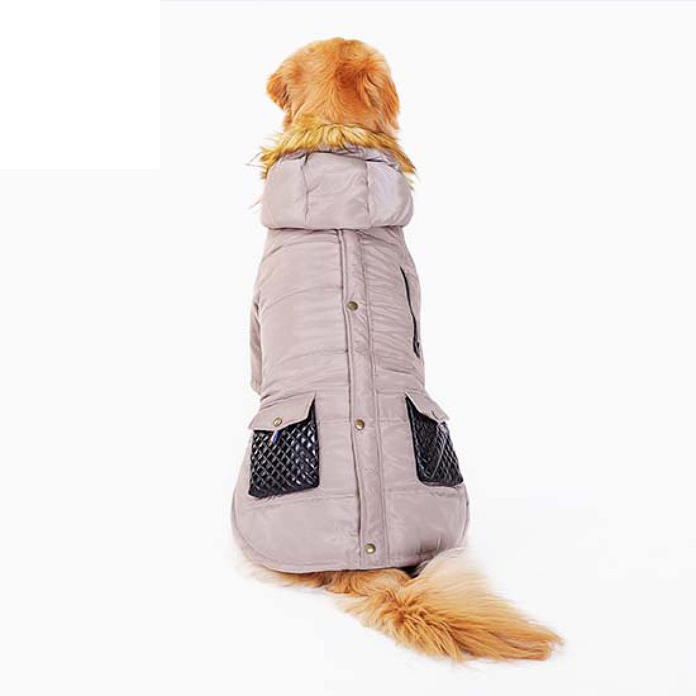 Onecolor Small Onecolor Small Pet Warm Jacket Dog Out Of The Coat Large Fur Collar Casual Cotton Autumn And Winter Clothing,Onecolor-S