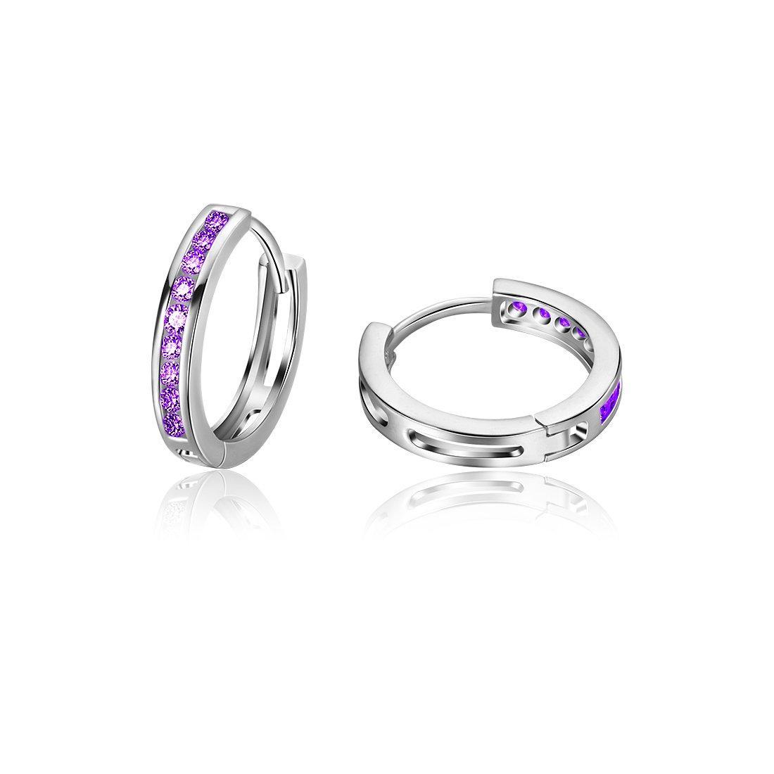 Carleen 925 Sterling Silver Channel Setting Round Cut 9-stone Cubic Zirconia CZ Hinged Hoop Earrings for Women Girls Diameter 1.8cm (Purple)