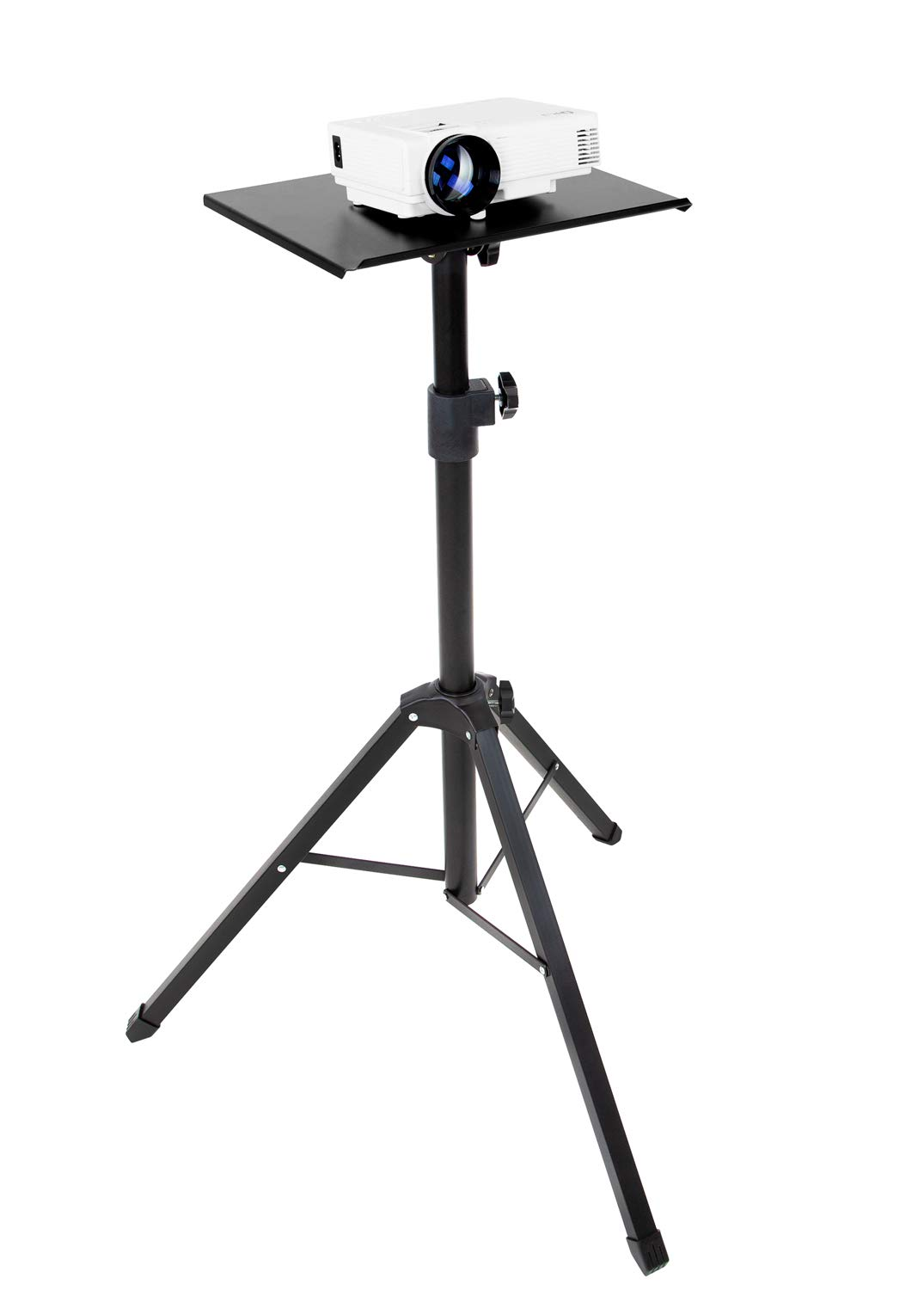 Mount-It! Tripod Projector Stand, Adjustable DJ Laptop Stand with Height and Tilt Adjustment, Portable Laptop Projector Table with Steel Tripod Base and Tray, Black by Mount-It! (Image #1)
