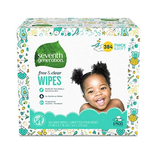 Seventh Generation Baby Wipes, Free & Clear Unscented and Sensitive, Gentle as Water, with Flip Top Dispenser…