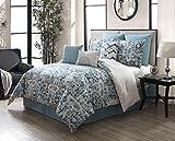 KingLinen 9 Piece Amber Teal/Ivory 100% Cotton Comforter Set Queen