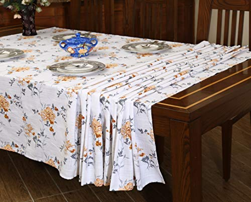 """Ruvanti Table Cloth (60X104"""") 8-10 Seats Wrinkle Free 100%Cotton Rectangle Tablecloth Washable/Reusable. White & Fall Color Table Cloths Table Cover for Christmas/Thanks Giving Dinners. - 【Premium Quality Wrinkle Proof Fabrication 】 Constructed with Top Notch Quality 100 % Organic Cotton Duck Weave Fabric which is more Wrinkle-Proof and Shrink-Proof than any other Cotton Fabrics. Edges are hemmed and sewn with mitted corners as the way table cloths were sewn in the old classic time. 【Elegant Colors Perfect For Indoor & Outdoor 】Ruvanti's colorful and vibrant pattern brings new life into your table linen. These color patterns bring Charm in Tablecloth and Blow a Fresh Breeze Into your dinning room. Their seamless one piece design makes it a great tablecloth for indoor and outdoor use. Printed with Charm full colors these tablecloths appears a sense of modern style, great for decorating your dining room, or any indoor event & outdoor Pool / BarBQ Parties. 【Multi Purpose Utilization】Ruvanti's excellent premium quality table cloth is of best for use both in business such as restaurants /hotels and or home settings; these are brilliant as table covers for indoor and outdoor use, patio, gardens, kitchen room, dining room, and family room. Comes in different sizes these are great if you are hosting any weeding, birthday party, Cocktail party, Christmas or Thanksgiving dinner. - tablecloths, kitchen-dining-room-table-linens, kitchen-dining-room - 51lG8Rw%2BG%2BL -"""