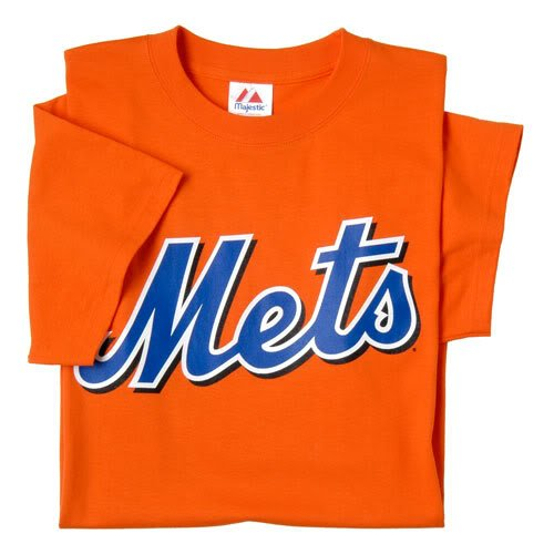 New York Mets (YOUTH LARGE) 100% Cotton Crewneck MLB Officially Licensed Majestic Major League Baseball Replica T-Shirt Jersey