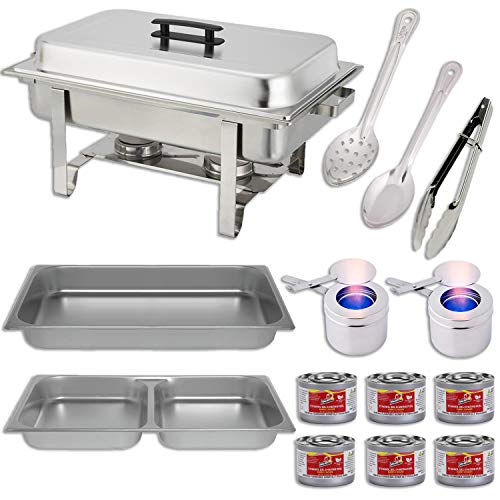 (Chafing Dish Buffet Set w/Fuel - Divided pan (4qt x 2)+ Full Pan (8 qt) Water Pan + Frame + Fuel Holders + 6 Fuel Cans + Serving Utensils (11