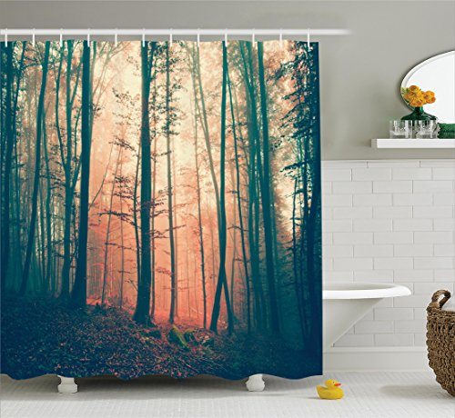 Ambesonne Mystic House Decor Shower Curtain, Light And Vintage Color In Mysterious Autumn Forest Woodland Nature Picture, Fabric Bathroom Set with Hooks, 75 Inches Long, Coral Dark Green (Autumn Colours)