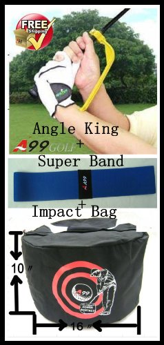 A99ゴルフアングルキングアップグレードスイングトレーナー+スーパースムーズスイングトレーニングエイドバンド+パワーコンタクトスイングインパクトバッグブラック   B00DN9JACY