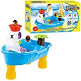 Pirate Ship Water Table for Kids – Toddler Pirate Ship Sand /Water Table – Detachable Legs – Scoop– Cup and buckets – Indoor and Outdoor kids toy set