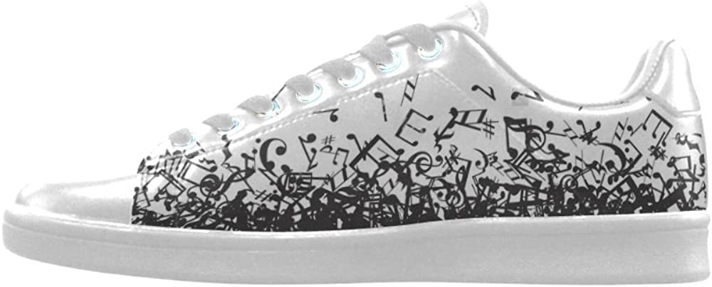 Sneakers D-Story Music Notes Art Action Leather Mens Low Top