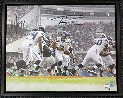7f6c0c9a2 Russell Wilson and Marshawn Lynch Signed Framed 16 x 20 Canvas Photo  Seattle Seahawks