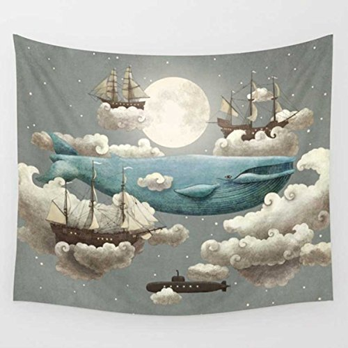 - Dreamland Blue Whale in The Sky Around Cloud and Ship Print Wall Hanging Tapestry for Kid's Bedroom Dorm Decor 51