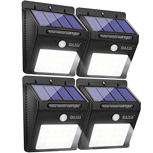 BAXIA TECHNOLOGY LED Solar Lights, Wireless Waterproof Outdoor Motion Sensor Security Night Lights for Outside Wall, Garden,Driveway, Steps, Patio(4-Pack)
