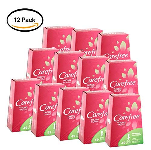 PACK OF 12 - Carefree Thong Panty Liners Unscented With Wings - 49 Count