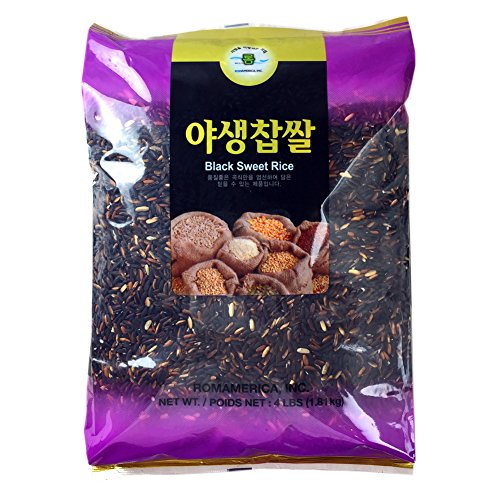 - ROM AMERICA (4 Pound) Black Sweet Rice Sticky Rice Glutinous Rice 야생찹쌀