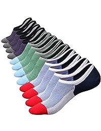 M&Z Mens Cotton Low Cut No Show Casual Non-Slide Socks OS Multicolor(6Pack)
