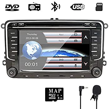 7 Inch Double Din Car Stereo GPS DVD Navi for VW Golf Polo Passat Tiguan Jetta EOS,Seat with DVD Player Multimedia System Support GPS Navigation USB RDS ...