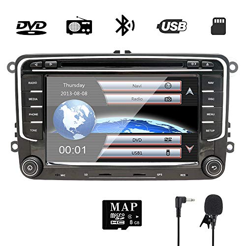 c4b416035 7 Inch Double Din Car Stereo GPS DVD Navi for VW Golf Polo Passat Tiguan  Jetta EOS,Seat with DVD Player Multimedia System Support GPS Navigation USB  RDS ...
