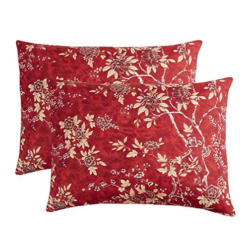 Wake In Cloud - Pack of 2 Pillow Cases, Red Vintage Floral Flowers Pattern Printed Soft Microfiber Pillowcases (King Size, 20x36 ()