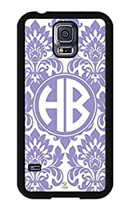 iZERCASE Samsung Galaxy S5 Case Monogram Personalized Violet Tulip Pattern RUBBER CASE - Fits Samsung Galaxy S5 T-Mobile, Sprint, Verizon and International (Black)