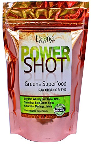 100 % PURE - RAW ORGANIC VEGAN - Power Shot Greens Superfood Blend - Spirulina, Chlorella, Wheat Grass, Blue-Green Algae, Moringa + - 60 SERVINGS from Essona Organics, Powder - 180 gms. Order Today!