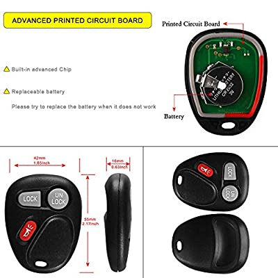 YITAMOTOR 2 Key Fob Compatible for 2001 2002 Chevy Silverado 1500 2500 3500 Chevrolet GMC Keyless Entry Remote for KOBLEAR1XT 15042968 Self-Programming: Car Electronics