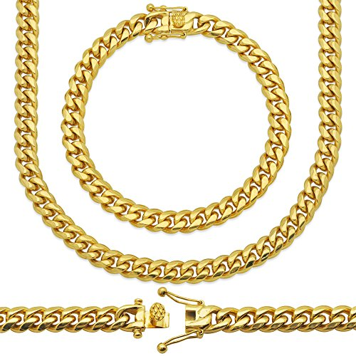 Cuban Miami Chain (Premium 18KT Real Gold Electroplated Stainless Steel Heavy Solid Miami Cuban Link Chain. Secure Box Lock. Available in 30
