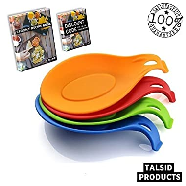 Talsid Products Multipurpose Silicone Spoon Rest Bundle Set of 4 Including Friendship Bracelet, Recipes E-book & Herb Scissors Discount Code! | Tray Rests | Food Grade Silicone / High Temperature