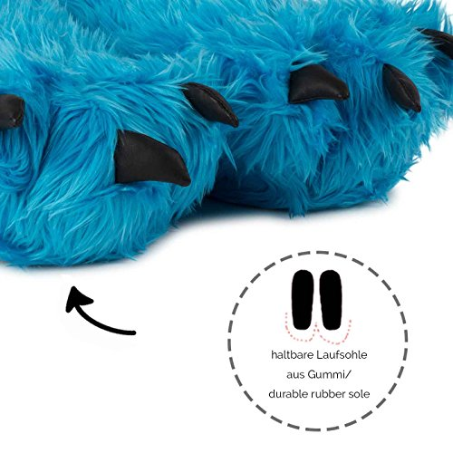 Funslippers Artiglio Zampa Pantofole Animali Blu Pantofole Peluche Mostro Artiglio Orso Zampa Con Suola In Gomma Adulti E Bambini