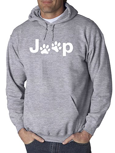 New Way 890 - Adult Hoodie Jeep Dog Paws Logo Unisex Pullover Sweatshirt Medium Heather Grey