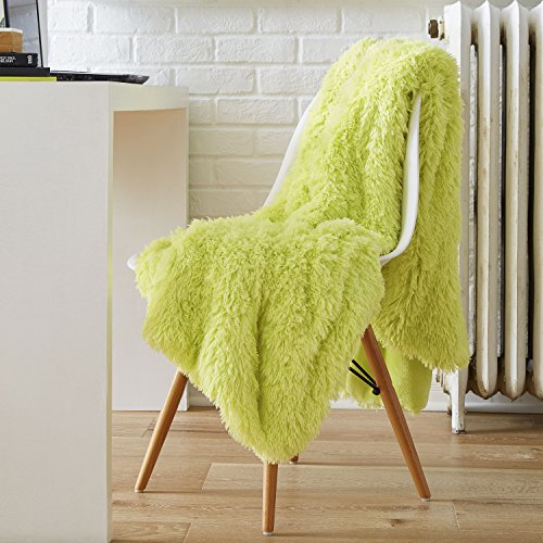 Serta Reversible Retro Shag Throw,Lime Green,50x60