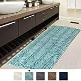 Bath Rug Runner Slip-Resistant Washable Striped Pattern Large Chenille Shaggy Bath Mat Runner Extra Soft and Absorbent Indoor Bath Mat for Bathroom, 47 inch by 17 inch - Eggshell Blue