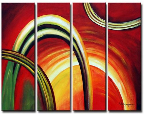 Sangu 100% Hand Painted Wood Framed Sun Flares Abstract Home Decoration Modern Oil Paintings Gift on Canvas 4-piece Art Wall Decor Paintings For Living Room