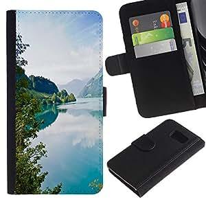 KLONGSHOP // Tirón de la caja Cartera de cuero con ranuras para tarjetas - Tourquise Blue Lake - Sony Xperia Z3 Compact //