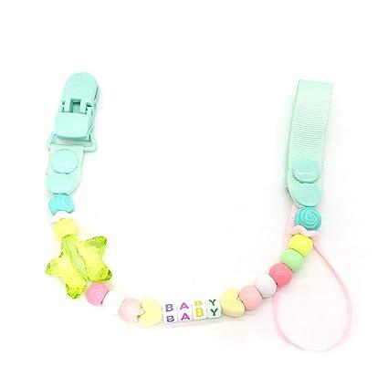 Cadena Clip bebé chupete, libre de BPA Anti-Fall Soother sostenedores de cadena Alivio de la dentición granos masticables regalo de la ducha para el ...