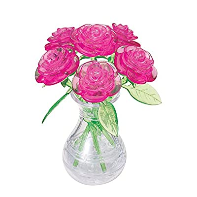 BePuzzled Original 3D Crystal Jigsaw Puzzle - Pink Roses in Vase DIY Assembly Brain Teaser, Fun Model Toy Gift Flower Decoration for Adults & Kids Age 12 and Up, 44 Pieces (Level 2): Toys & Games