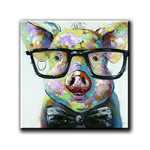 Animal Print Glass (Glasses Pig Canvas Painting Home Decor Animal Prints For Home Decoration Morden Art Pictures Framless)