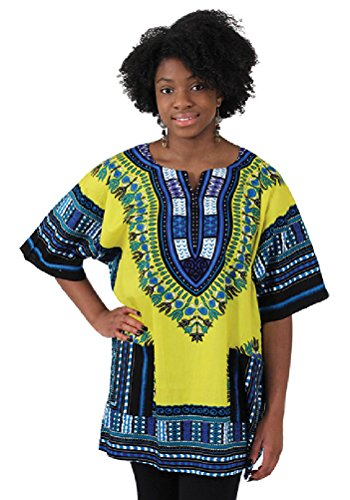 Traditional Thailand Style Dashiki - Available in Several Color Combinations (Yellow)