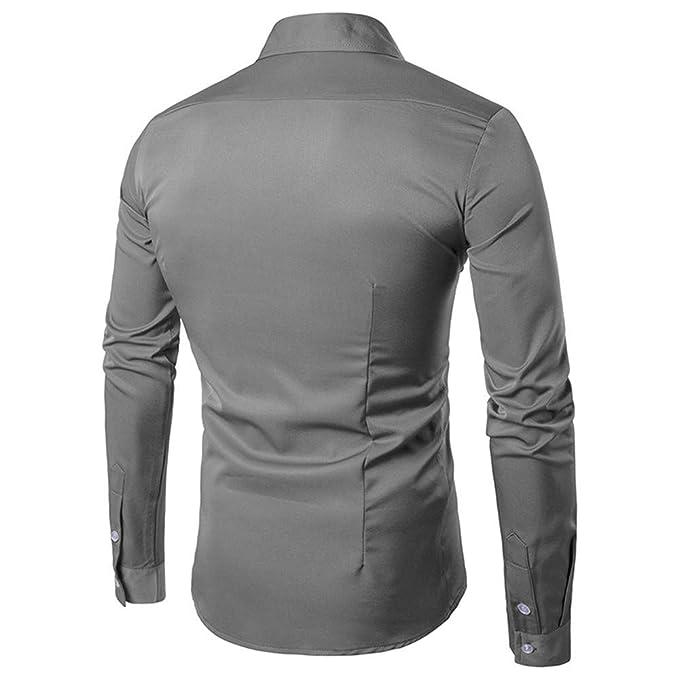 Blusa de Hombre, BaZhaHei, Tops de Manga Larga para Hombre Slim de Camisetas de Hombre del Camisas de Polo de Manga Larga de algodón de Moda Casual otoño ...