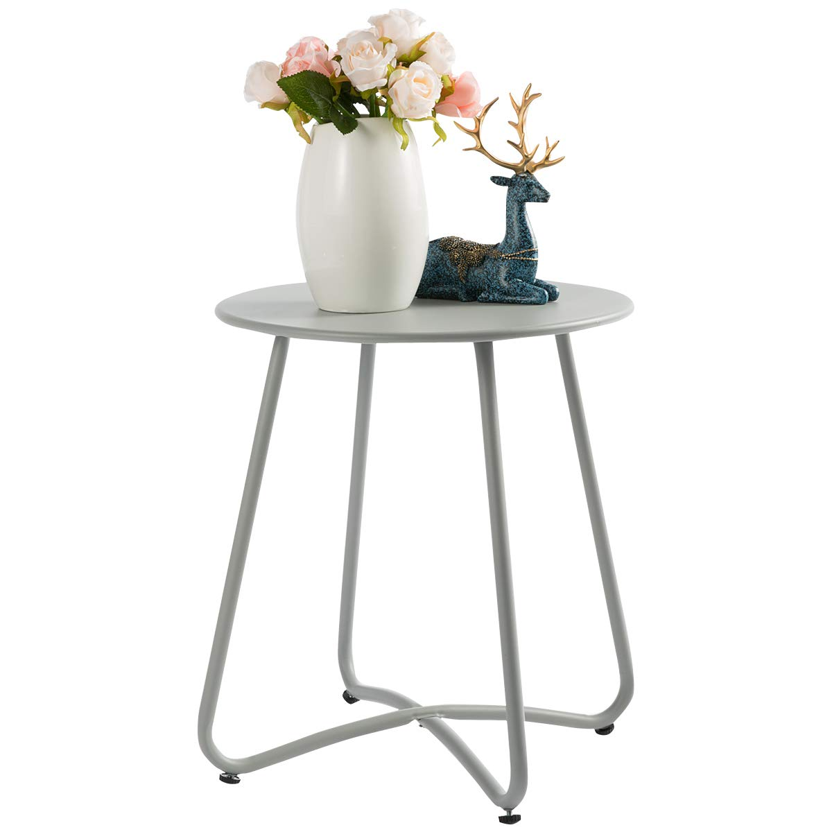 """HollyHOME Small Round Patio Metal Side Snack Table, Accent Anti-Rust Steel Coffee Table for Garden, Modern Weatherproof Outdoor End Table, (H) 17.55"""" x(D) 15.60"""", Grey"""