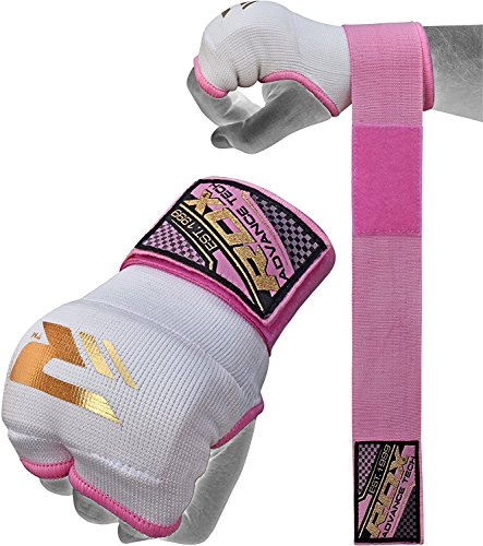 RDX Ladies Training Boxing Inner Gloves Hand Wraps MMA Fist Protector Bandages Mitts, Medium, Pink - Ladies Boxing Gloves