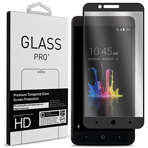 ZTE Blade Z Max Screen Protector, ZTE ZMax Pro 2 Screen Protector, ZTE Sequoia Screen Protector, CoverON InivisiGuard Tempered Glass Screen Protector Full Coverage Design - Clear / Black Border