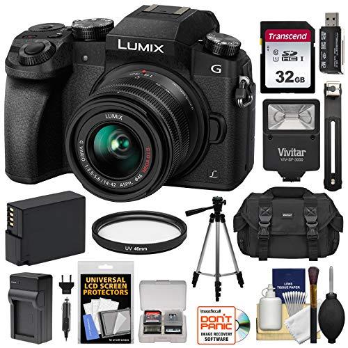 Panasonic Lumix DMC-G7 4K Wi-Fi Digital Camera & 14-42mm Lens (Black) with 32GB Card + Battery + Charger + Case + Flash + Tripod + Kit