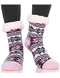 Women's Fuzzy Socks Winter Thermal Cozy Warm Indoor Non Skid Knit Slipper Socks