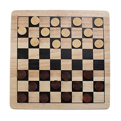 Brybelly 2-in-1 Checkers & Tic-Tac-Toe Game Set – Reversible, All-Natural Wood Board with Wooden Pieces, Classic Family Games [並行輸入品] B07SFT2YXQ